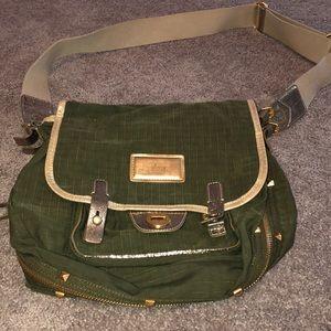Green and Gold Nylon Messenger Bag